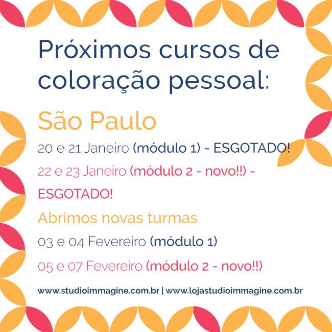 novas turmas do curso de coloração 2018 em São Paulo
