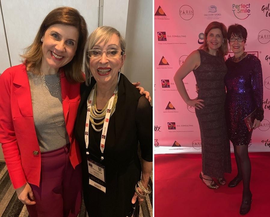 À esquerda, com Carla Mathis e, à direita, com Alice Parsons