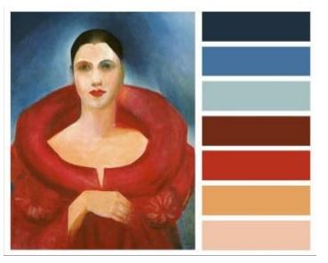 As cores de obras de arte famosas